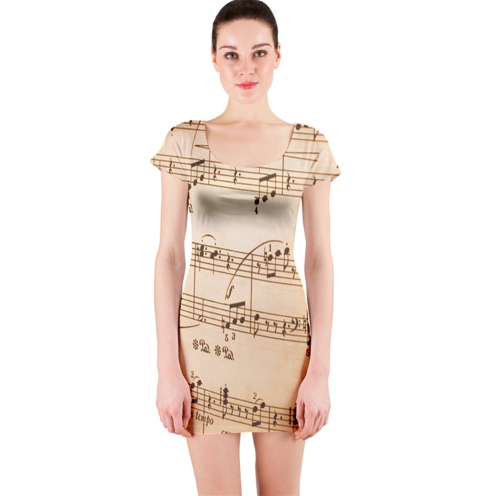 Music Notes Background Short Sleeve Bodycon Dress