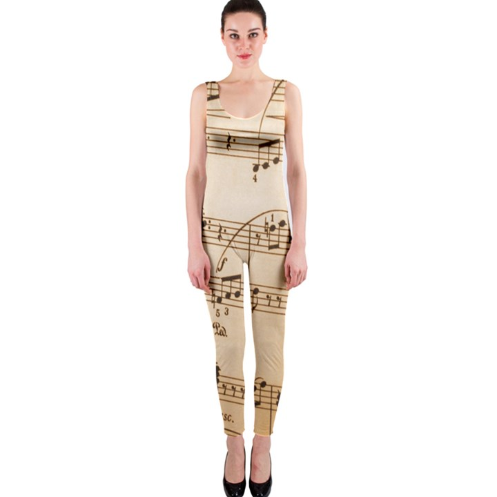Music Notes Background OnePiece Catsuit