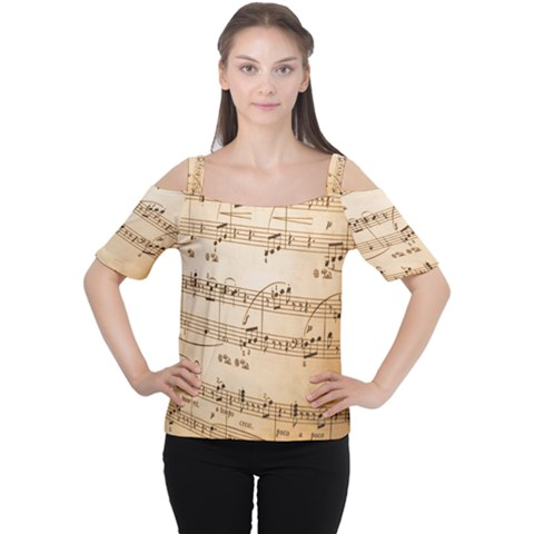 Music Notes Background Women s Cutout Shoulder Tee