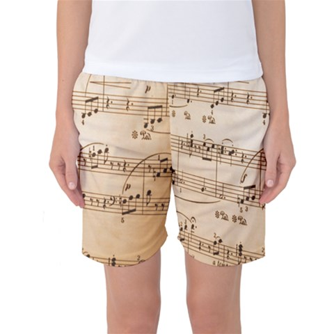 Music Notes Background Women s Basketball Shorts