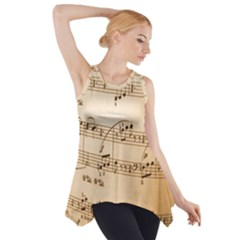 Music Notes Background Side Drop Tank Tunic