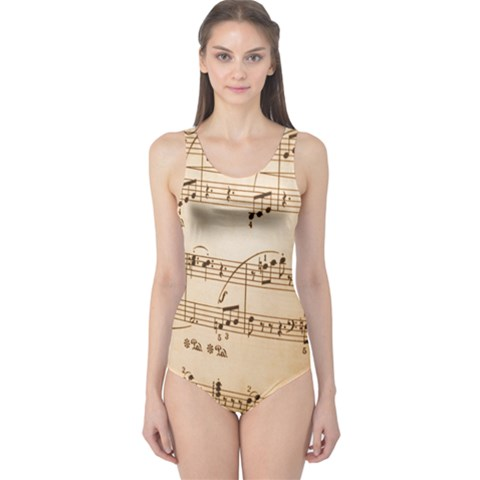 Music Notes Background One Piece Swimsuit