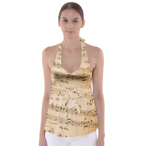Music Notes Background Babydoll Tankini Top