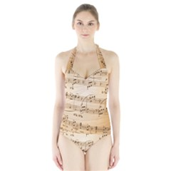 Music Notes Background Halter Swimsuit
