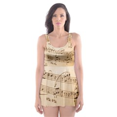 Music Notes Background Skater Dress Swimsuit