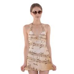 Music Notes Background Halter Swimsuit Dress