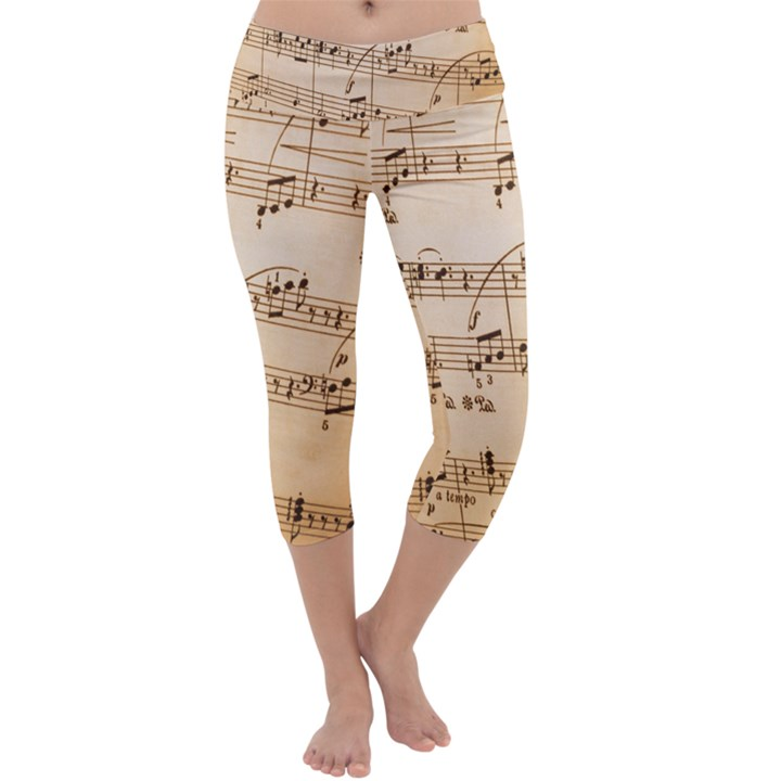 Music Notes Background Capri Yoga Leggings