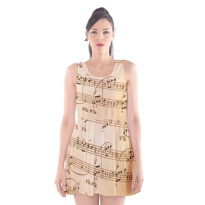 Music Notes Background Scoop Neck Skater Dress