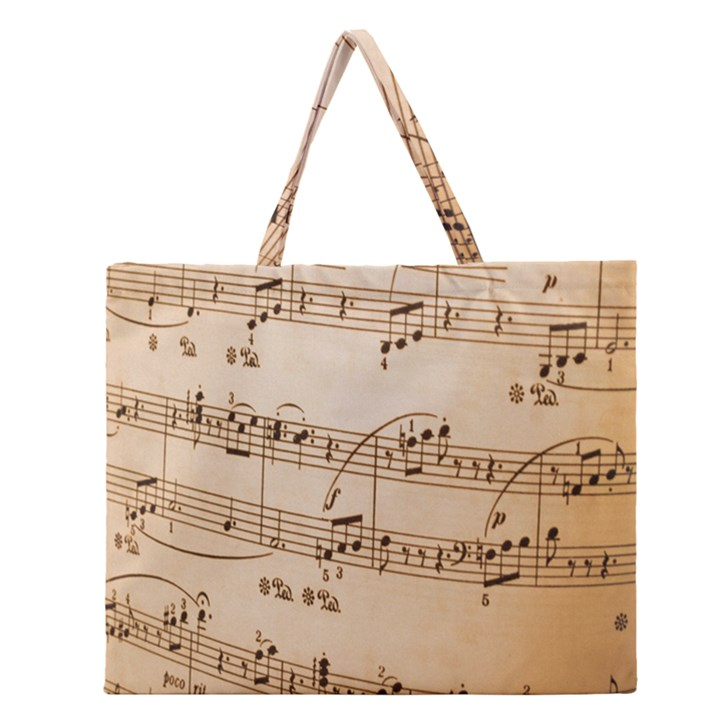 Music Notes Background Zipper Large Tote Bag