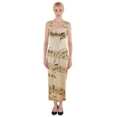 Music Notes Background Fitted Maxi Dress