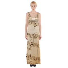 Music Notes Background Maxi Thigh Split Dress
