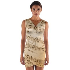 Music Notes Background Wrap Front Bodycon Dress