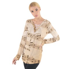 Music Notes Background Women s Tie Up Tee
