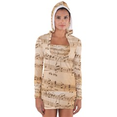 Music Notes Background Women s Long Sleeve Hooded T-shirt