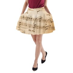 Music Notes Background A-Line Pocket Skirt