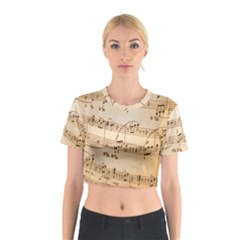 Music Notes Background Cotton Crop Top