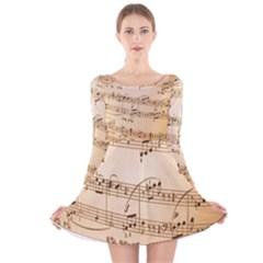 Music Notes Background Long Sleeve Velvet Skater Dress