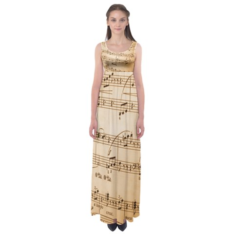 Music Notes Background Empire Waist Maxi Dress