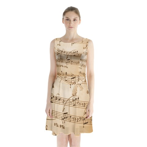 Music Notes Background Sleeveless Chiffon Waist Tie Dress