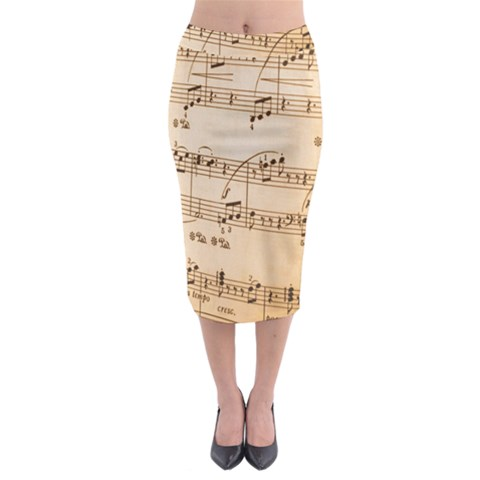 Music Notes Background Midi Pencil Skirt