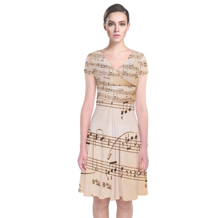 Music Notes Background Short Sleeve Front Wrap Dress