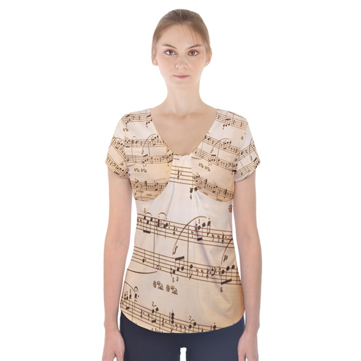 Music Notes Background Short Sleeve Front Detail Top