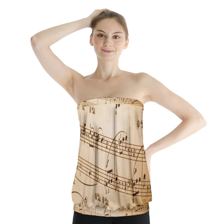 Music Notes Background Strapless Top
