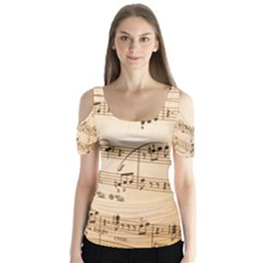 Music Notes Background Butterfly Sleeve Cutout Tee