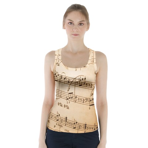 Music Notes Background Racer Back Sports Top