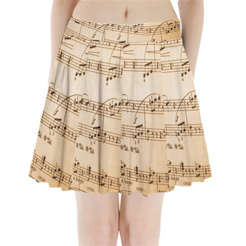 Music Notes Background Pleated Mini Skirt