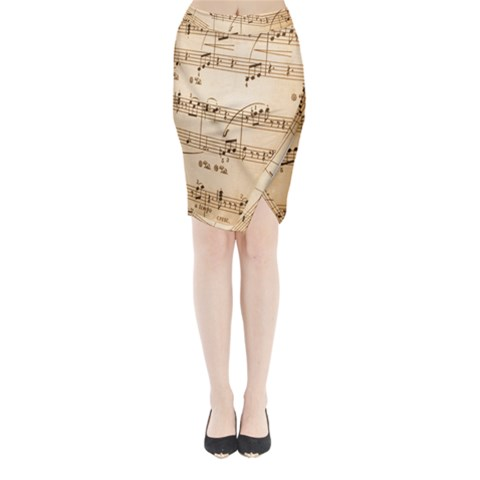 Music Notes Background Midi Wrap Pencil Skirt