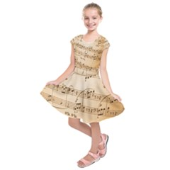 Music Notes Background Kids  Short Sleeve Dress