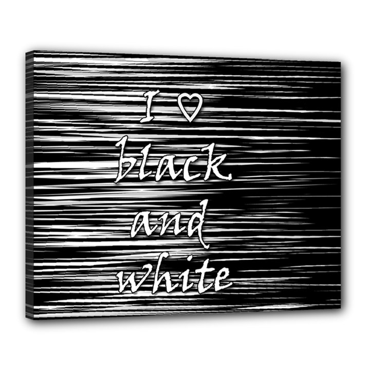 I love black and white Canvas 20  x 16