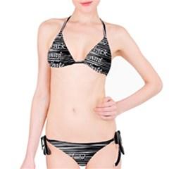 I Love Black And White Bikini Set