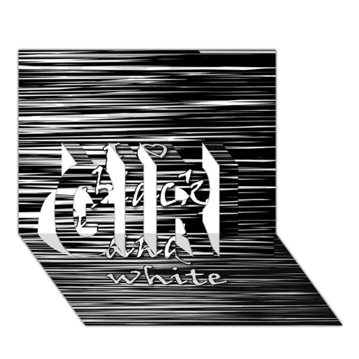 I love black and white GIRL 3D Greeting Card (7x5)
