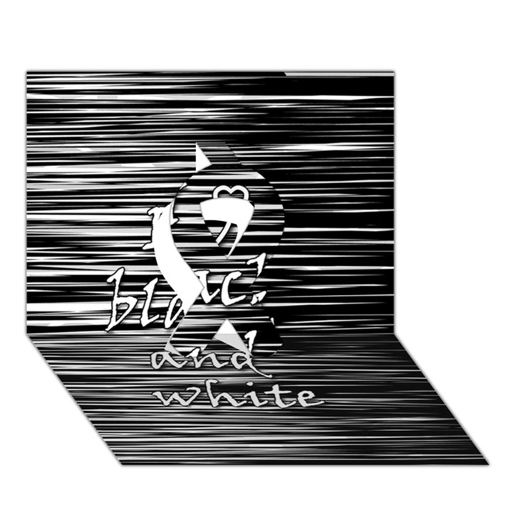 I love black and white Ribbon 3D Greeting Card (7x5)