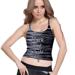 I Love Black And White Spaghetti Strap Bra Top