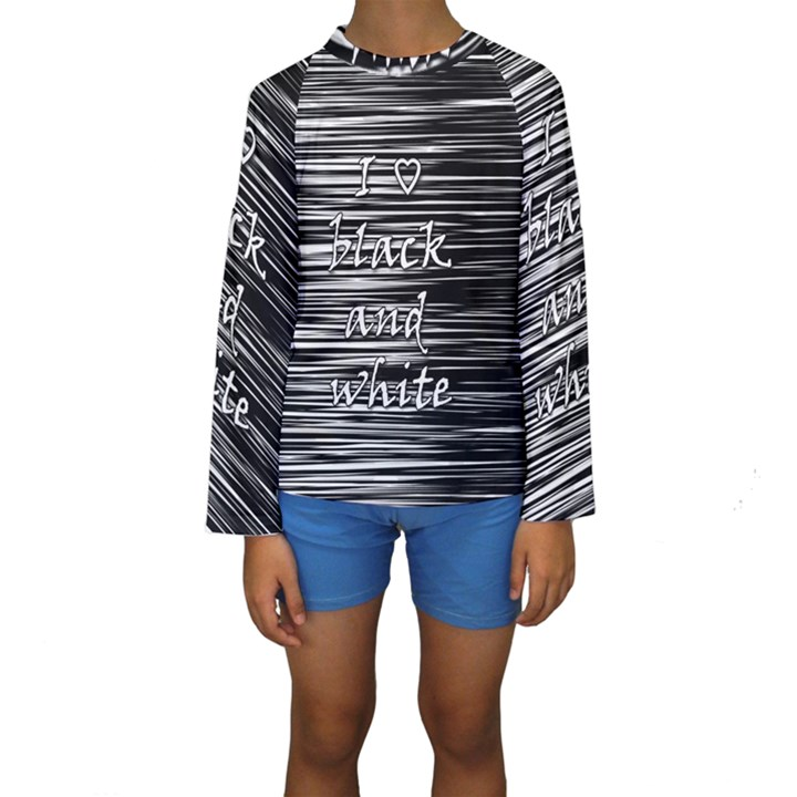 I love black and white Kids  Long Sleeve Swimwear