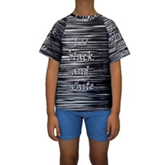 I Love Black And White Kids  Short Sleeve Swimwear