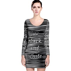 I Love Black And White Long Sleeve Bodycon Dress