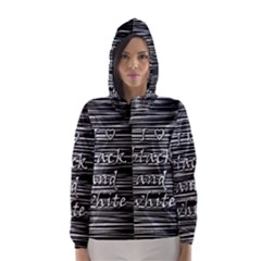 I Love Black And White Hooded Wind Breaker (women)