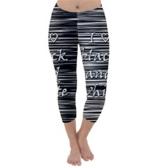 I Love Black And White Capri Winter Leggings