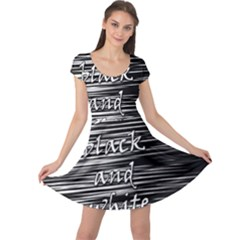 I Love Black And White Cap Sleeve Dresses