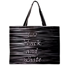 I love black and white Zipper Mini Tote Bag