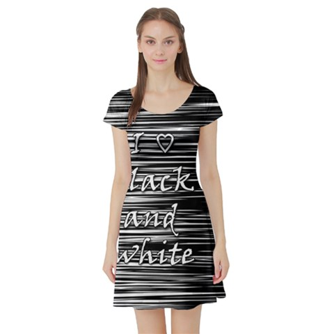 I love black and white Short Sleeve Skater Dress