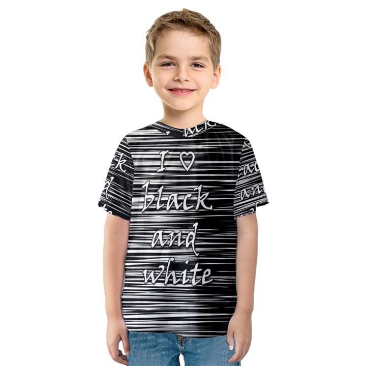 I love black and white Kids  Sport Mesh Tee