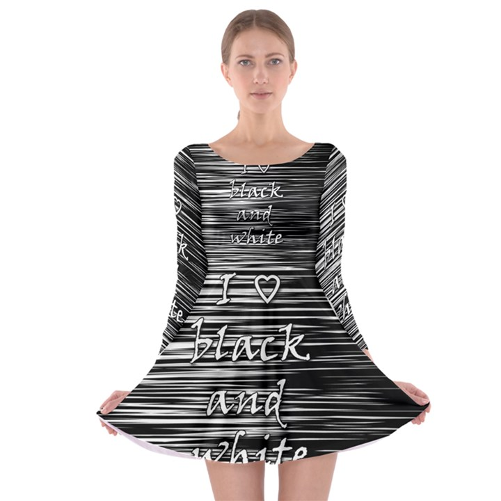 I love black and white Long Sleeve Skater Dress