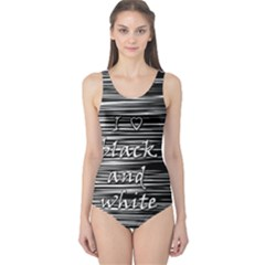 I love black and white One Piece Swimsuit