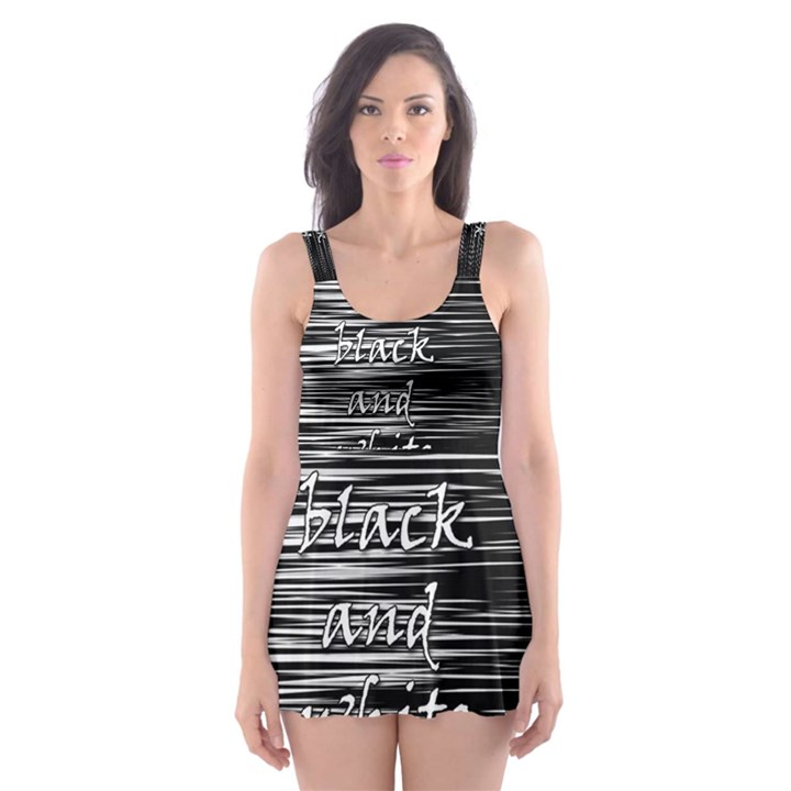 I love black and white Skater Dress Swimsuit