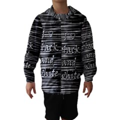 I love black and white Hooded Wind Breaker (Kids)